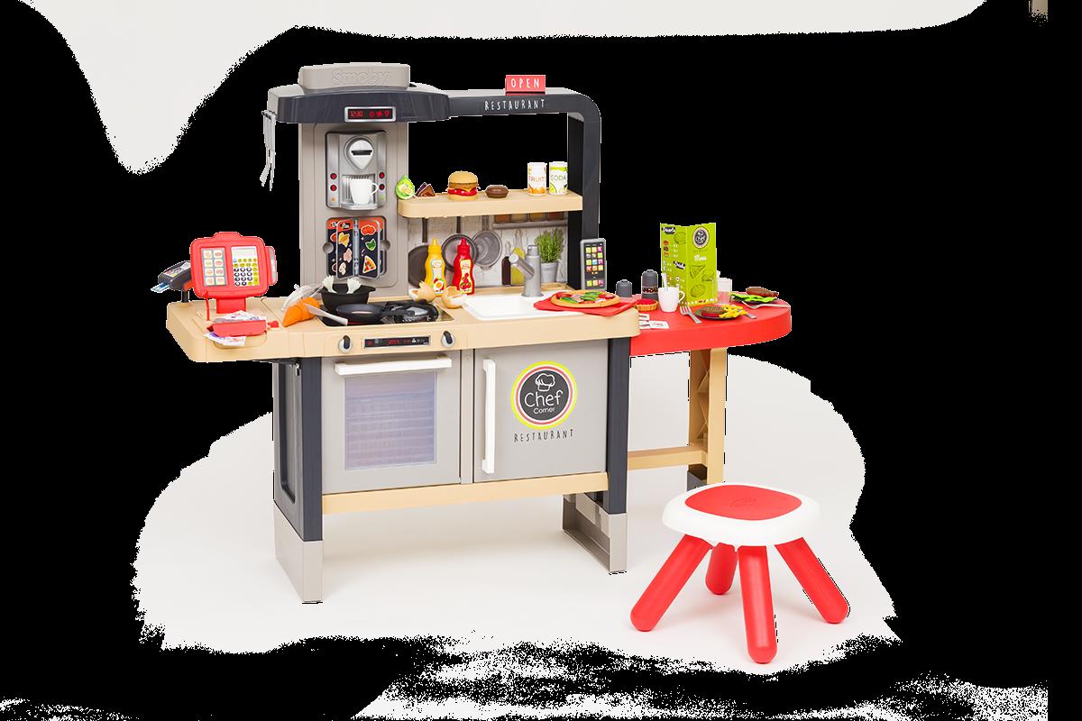 Restavracija z elektronsko kuhinjo Chef Corner Restaurant Smoby dvostranska s tekočo vodo in specialitetami nastavljiva po višini ter 70 dodatkov