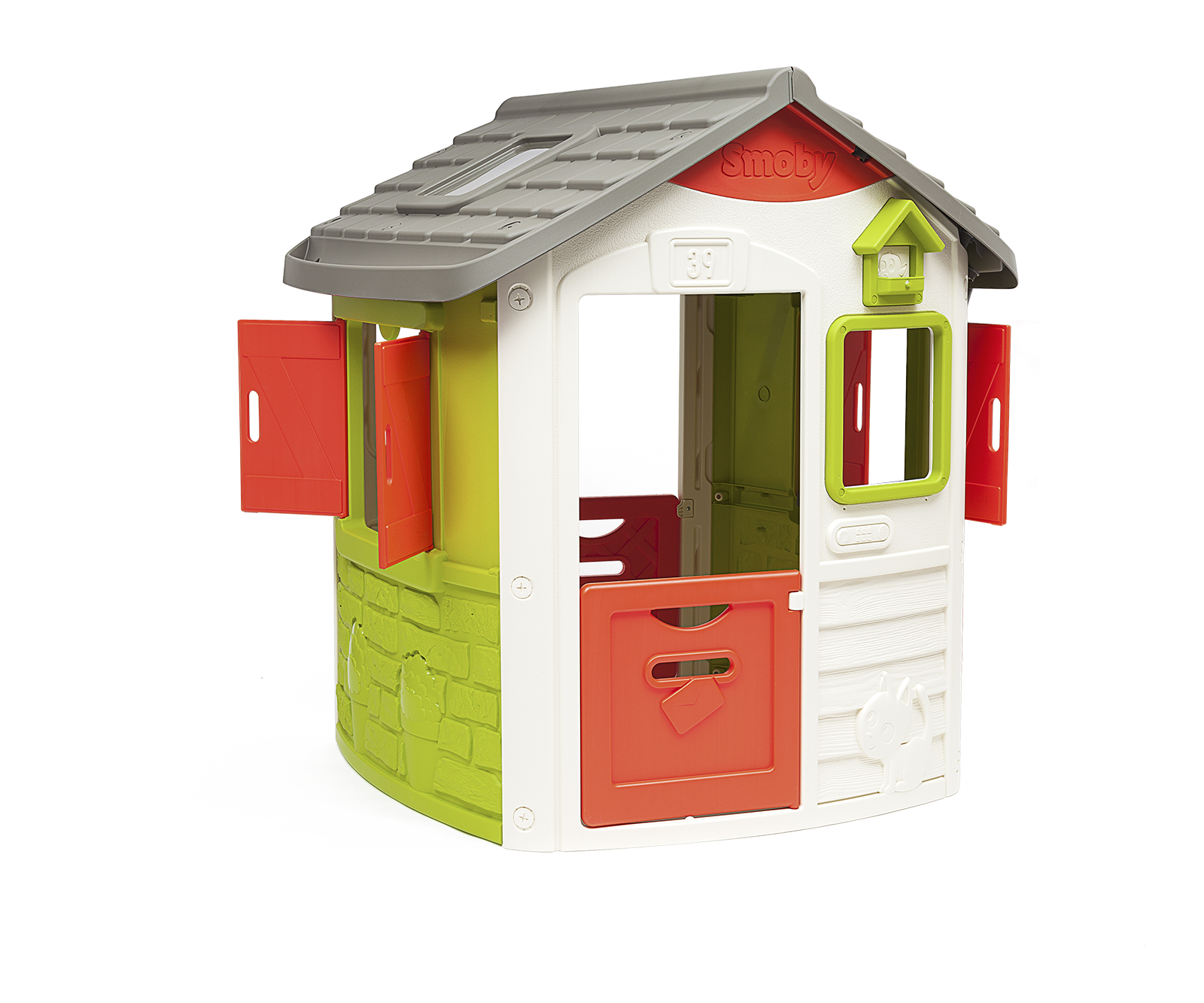 Hišica Neo Jura Lodge Smoby 2 vrata 2 okni z naoknicami in krmilnica za ptiče od 2 leta